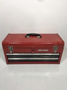 Sears Craftsman Professional Vintage 2 Drawer Tall Red Tool Box Chest Metal