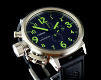 50mm Parnis black dial Big Face Green No. mens WATCH Full chronograph 060