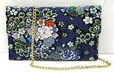 Steve Madden 🌼 $48 NWT Blue Multi Crossbody Clutch Bag Floral Flap Snap Gold