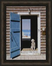 ON THE LAKE by Zhen-Huan Lu 19x24 Canoe Boat Lodge Cabin FRAMED PICTURE HCD