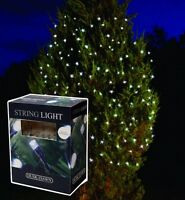 11m LED SOLAR POWER WHITE OUTSIDE GARDEN CHRISTMAS TREE FAIRY LIGHTS SLSL3