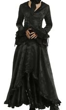 VICTORIAN VAMPIRE GOTHIC CORSET BROCADE DRESS SPLIT TAIL COAT JACKET STEAMPUNK M