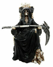 Atlantic Collectibles Black Holy Death Grim Reaper Sitting on Skeleton Throne Fi
