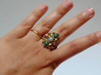 RARE Art Deco 1920s Antique Chinese Export Statement Ring Coral Agate China VTG