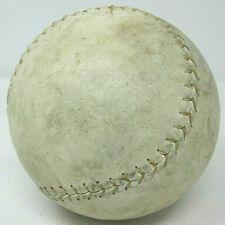 "Vintage 16"" Diameter Round Leather Softball White with Raised Sewn Stitching Old"