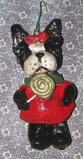 Folk Art Ornament Boston Terrier Candy Dog Doll OOak New Vintage Nostalgic Style