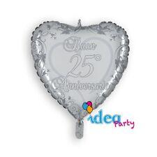 PALLONCINO MYLAR CUORE ARGENTO 25, Addobbi Festa 25° anniversario matrimonio