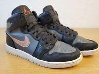 Nike Air Jordan 1 Retro High Big Kids 705300-006 Sz 6.5Y Black Metalic Red Grey