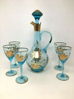 6 Piece Bohemian Hand Painted Blue Gold Decanter Set Wine Glasses Barware