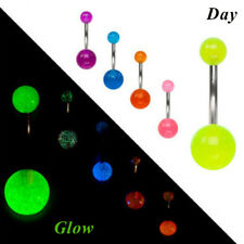 7Pcs Stainless Steel Glow In The Dark Belly Button Navel Bar Rings Body Piercing