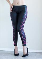 Black with Hot Pink Lace Ups Wetlook Stretch Leggings