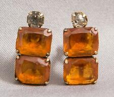 Vintage Gold Tone Amber Stone Screw On Clip On Earrings Jewelry egm