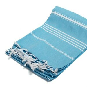 "J & Ce 100% Cotton Turkish Peshtemal Towel - Turquoise - Size 37"" x 70""  - NWT"