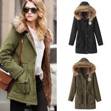 Womens Ladies Warm Long Coat Fur Collar Hooded Jacket Fall Winter Outwear Coats