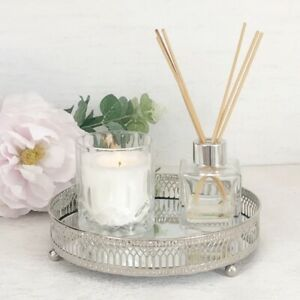 Small Elegant Silver Mirror Vanity Display Tray / Candle Plate 20cm