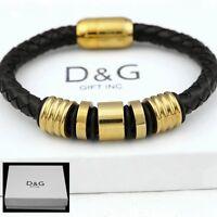 """DG Men's 8"""" Gold Stainless-Steel Black,Braided Leather Magnetic,Bracelet + BOX"""