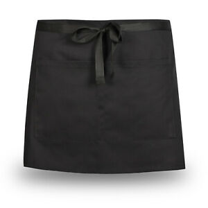 BLACK WAIST APRON HALF SIZE COOKWARE KITCHEN BAR CAFE RESTAURENT BLACK APRON