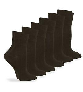 Jefferies Socks Womens Seamless Cotton Turn Cuff Roll Crew Socks 6 Pair Pack