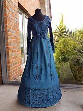 Mittelalter kleid Fantasie Gewand Nepal Hippie Viskose blauStickerei vintage