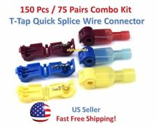 150pc Insulated 22-10 AWG T-Taps Quick Splice Wire Terminal Connectors Combo Kit
