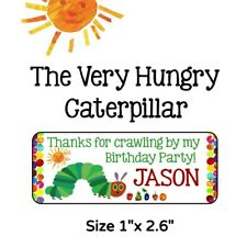 50 Hungry Caterpillar Birthday Party Stickers Labels For Goodie Bags & Favors