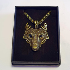 Wolf Head Viking Nordic 60cm Metal Keel Chain Necklace Antique Dull Gold Brass