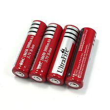 -US Seller- 4  PCS 18650 3000mAh 3.7V Li-Ion Rechargeable Batteries Red Tab