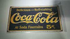 Coke Weathered 1910 Logo Tin Sign 16 X 9in
