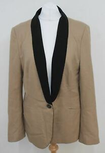 ZARA BASIC Ladies Sand Beige Black Trim Single Breasted Suit Jacket Size L
