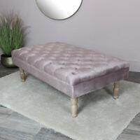 Pink Velvet Upholstered Bench vintage luxurious seating bedroom living room deco