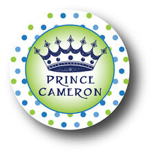 30 Prince with Crown Personalized Baby Shower Invitation Favor White Stickers