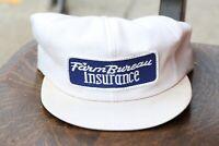 Vintage 80s FARM BUREAU PATCH TRUCKER HAT cap k products Work wear Old White