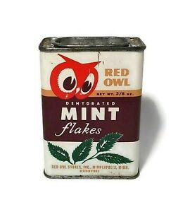1948 Red Owl Mint Flakes Spice Tin Vintage Advertising Dehydrated Metal Can