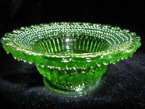 Green Vaseline glass Star dew salt cellar dip candle holder uranium ashtray glow