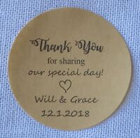 24x 4cm Round Kraft Thank You Gift Sticker Personalised Anniversary Favour Label