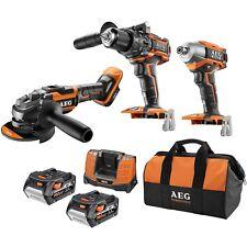 3 Piece AEG Pro Combo Tool Kit 18V 5.0Ah Brushless Cordless Drill Driver Grinder