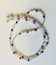 Blue beaded cord chain lace lanyard strap string neck reading eye-wear glasses
