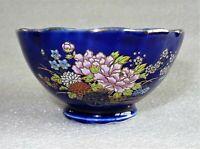 petit bol en porcelaine de chine bleu nuit décor au paon émaillé et or