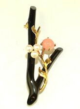 VINTAGE 14K YELLOW GOLD BLACK & PINK CORAL PIN WITH 4 MM PEARLS & GOLD LEAVES