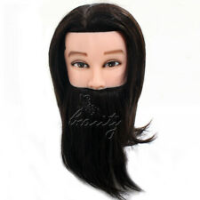 "Man Salon Barber Training Head 14"" 100% Real Hair Mannequin Doll +Clamp Hot Sale"