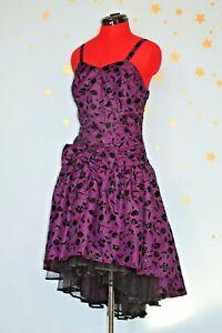 vintage 80s purple flock ra ra  dress prom