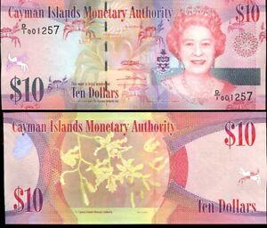 Cayman Islands 10 Dollars 2010 QEII D/1 PREFIX P 40 UNC