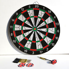 Beginner Double Sided Target 15 Inch Magnetic Flocking Dart Board with 6 Darts