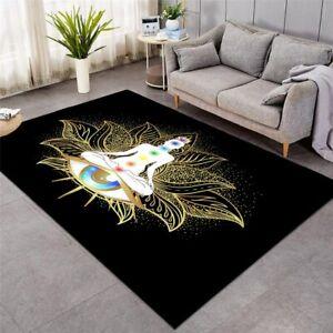 Chakra Zen Lotus Floral Buddha Eye Rectangle Rug Carpet Mat Living Room Bedroom