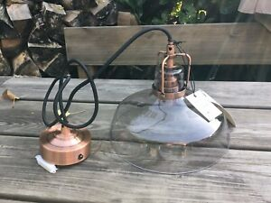 New Boxed Debenhams Miles Ceiling Pendant Light Glass Shade & Copper Fittings