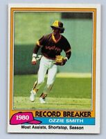 1981  OZZIE SMITH - Topps RECORD BREAKER Baseball Card # 207 - SAN DIEGO PADRES