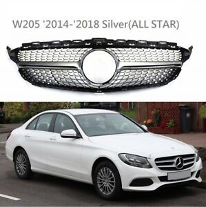 Front Diamond Grille Silver For '2014-'2018 Mercedes Benz W205 C-Class AMG Style