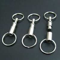 5Pcs Pull-Apart Quick Release Silver Key Ring Easy Detach Double Snap Key Chain