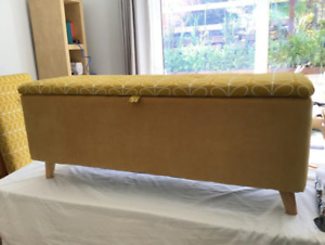 Custom storage ottoman bench seat in Orla Kiely Stem print fabric and wool blend