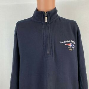 Tommy Bahama New England Patriots Embroidered Sweatshirt NFL 1/2 Zip Blue Size L